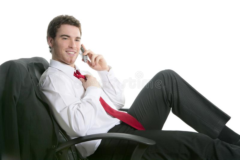 Download Businessman Relaxed Sit On Chair Talking Stock Photo - Image: 13979878