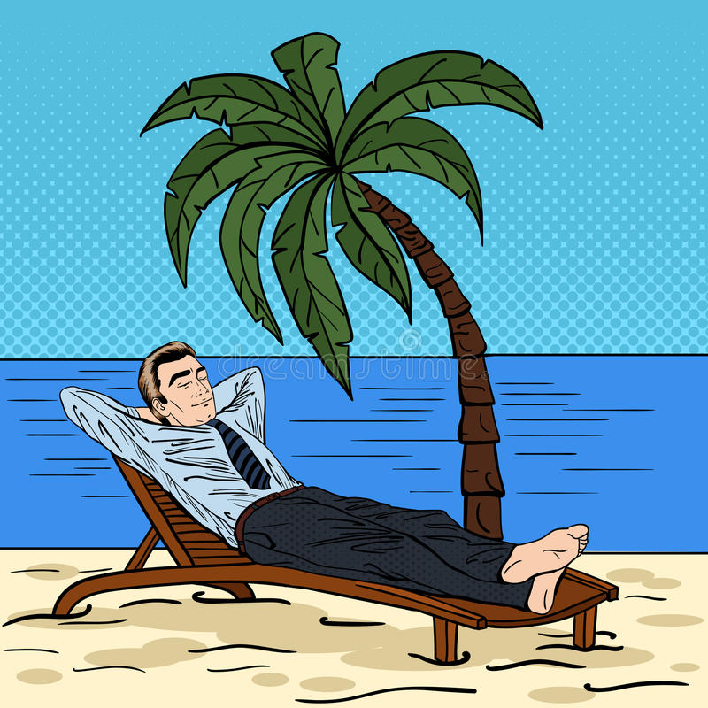 Vector Vintage Pop Art Beach Holiday Illustration Stock: Businessman Relaxing On The Beach. Man On Tropical