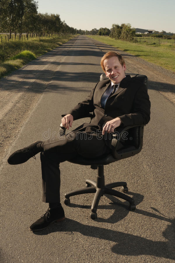 Businessman with relaxing outdoor stock photo