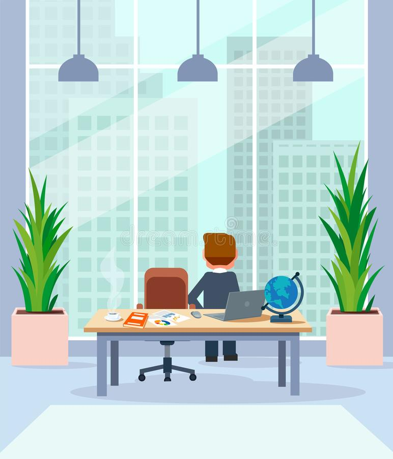 Businessman standing by his desk in office looking in window at megalopolis city skyline. Businessman relaxing standing by his desk in office looking in window vector illustration