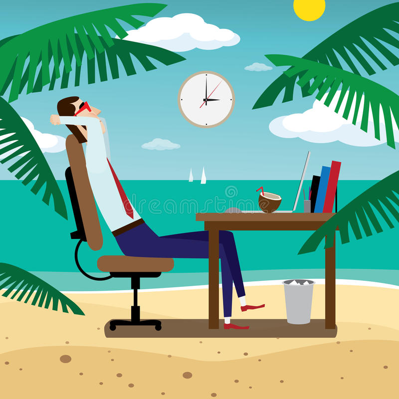 Businessman relaxing on tropical beach stock illustration