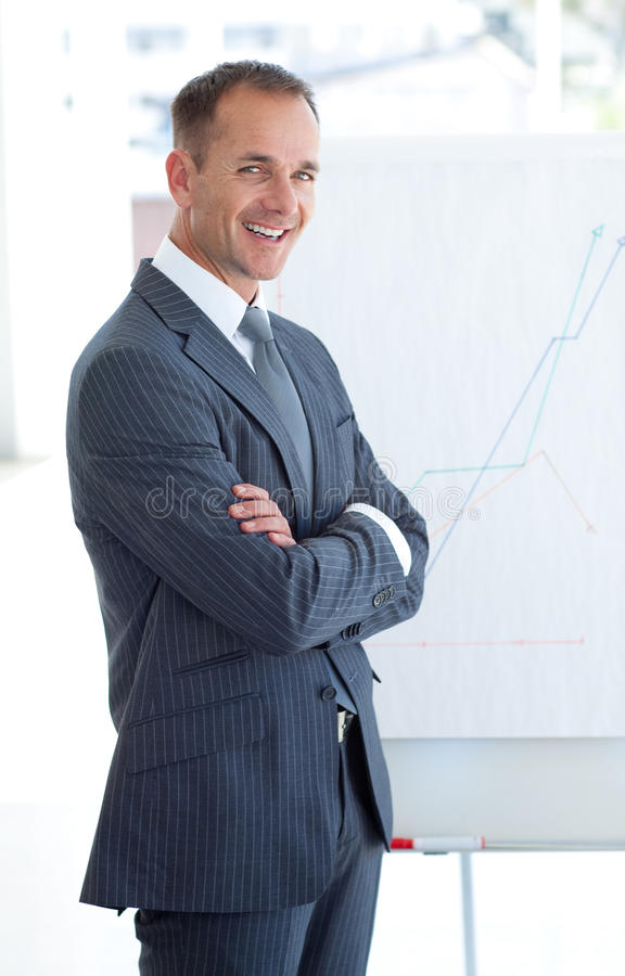 Businessman reporting to sales figures royalty free stock photo
