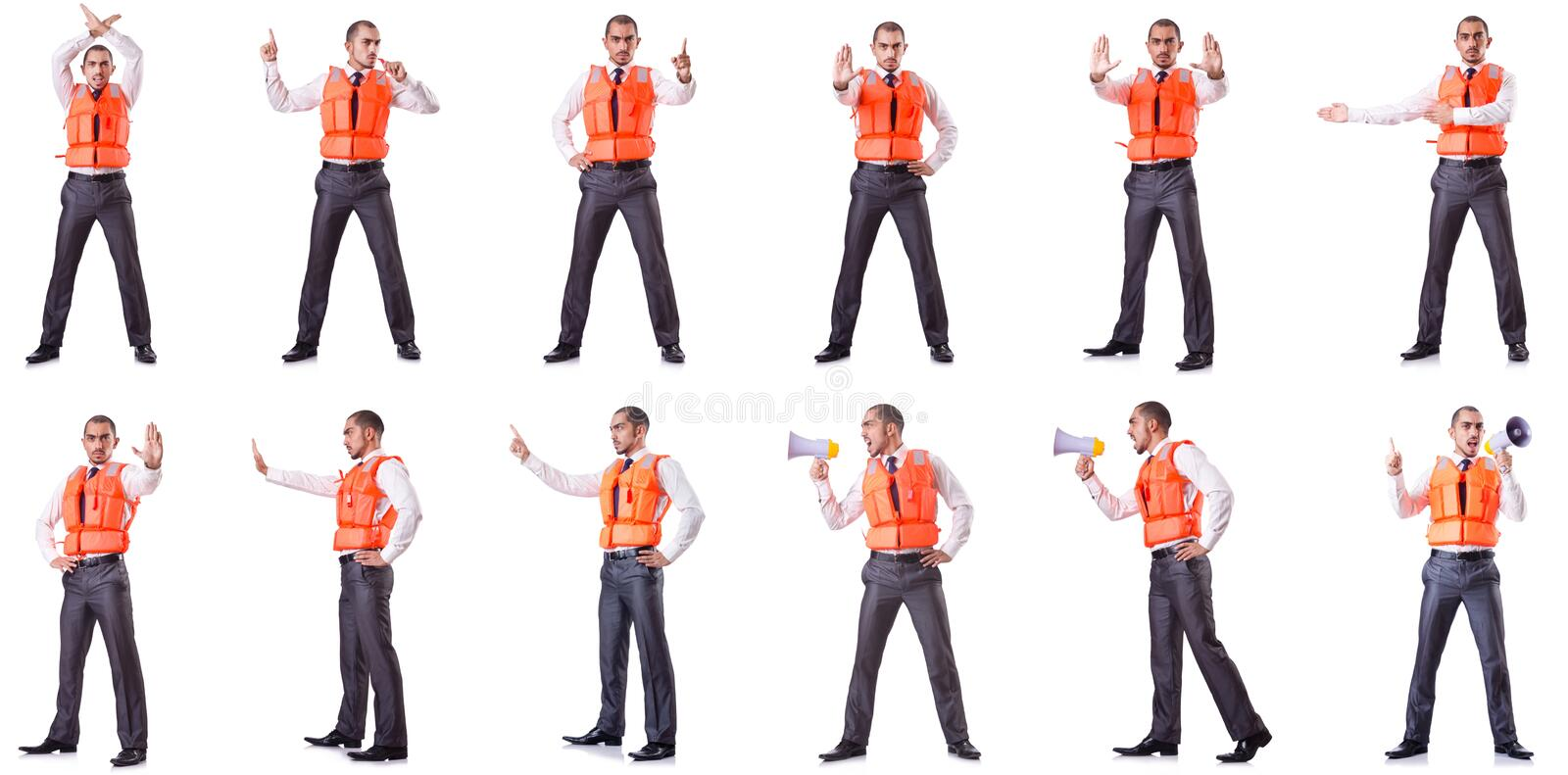 The businessman with rescue safety vest on white. Businessman with rescue safety vest on white royalty free stock photo