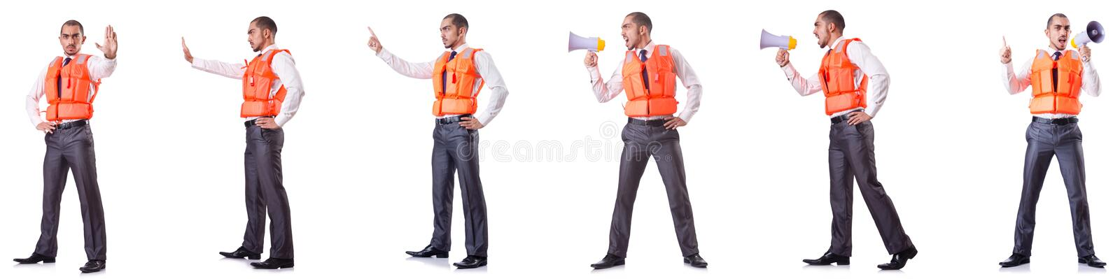 The businessman with rescue safety vest on white. Businessman with rescue safety vest on white stock image