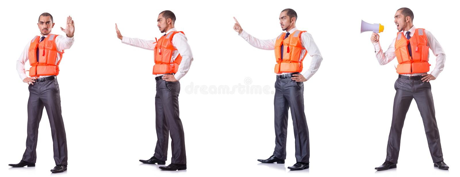 The businessman with rescue safety vest on white. Businessman with rescue safety vest on white royalty free stock image