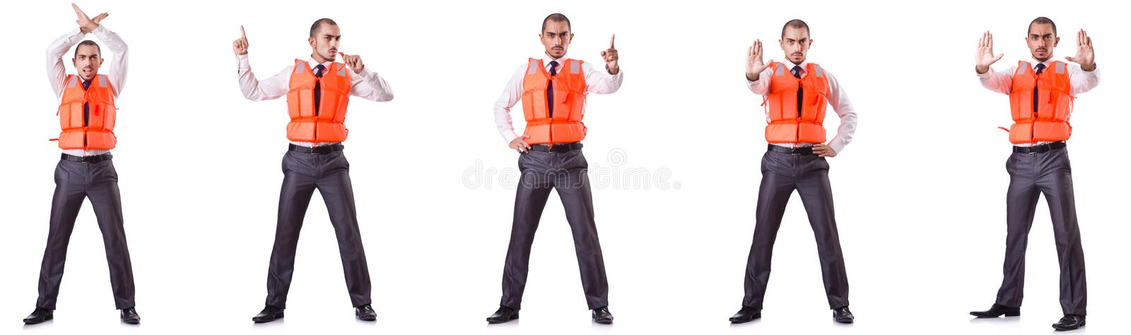 The businessman with rescue safety vest on white. Businessman with rescue safety vest on white royalty free stock photography