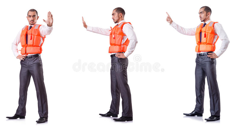 The businessman with rescue safety vest on white. Businessman with rescue safety vest on white royalty free stock photos
