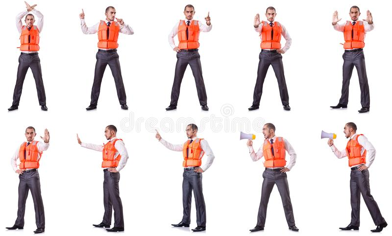 The businessman with rescue safety vest on white. Businessman with rescue safety vest on white stock photo