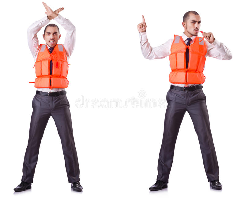 The businessman with rescue safety vest on white. Businessman with rescue safety vest on white stock images