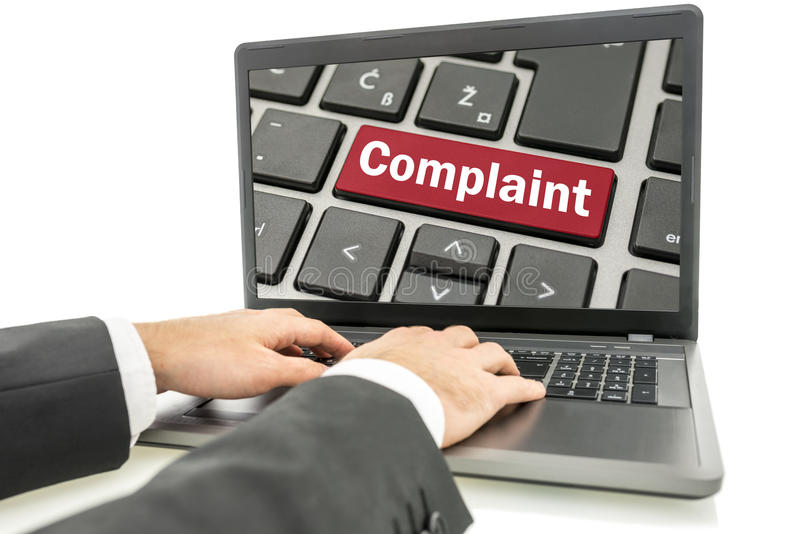 Businessman responding to a complaint royalty free stock photography
