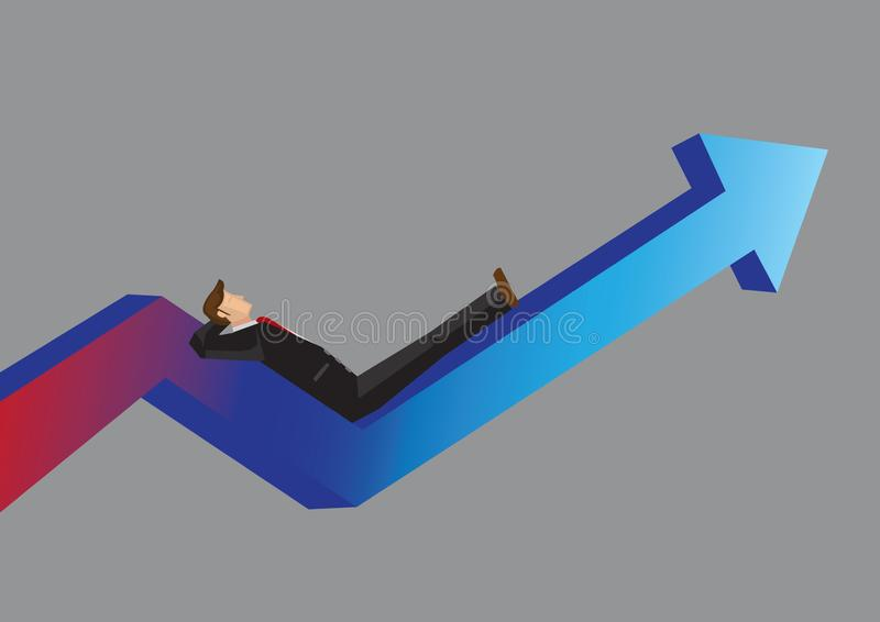 Businessman Resting on Business Growth Chart Arrow Vector Business Illustration stock illustration
