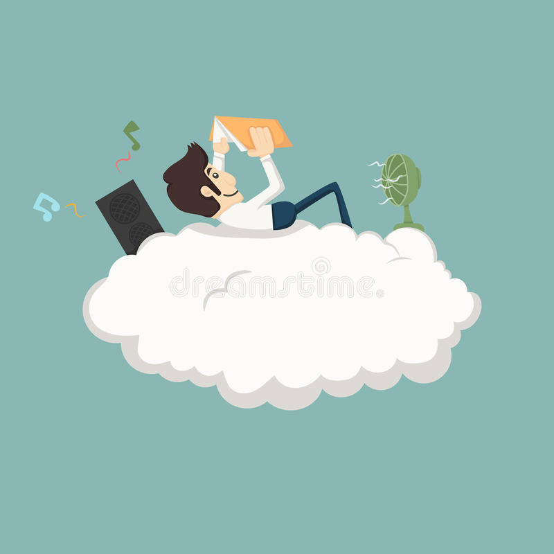 Free Businessman Resting On A Cloud Stock Photo - 43394850