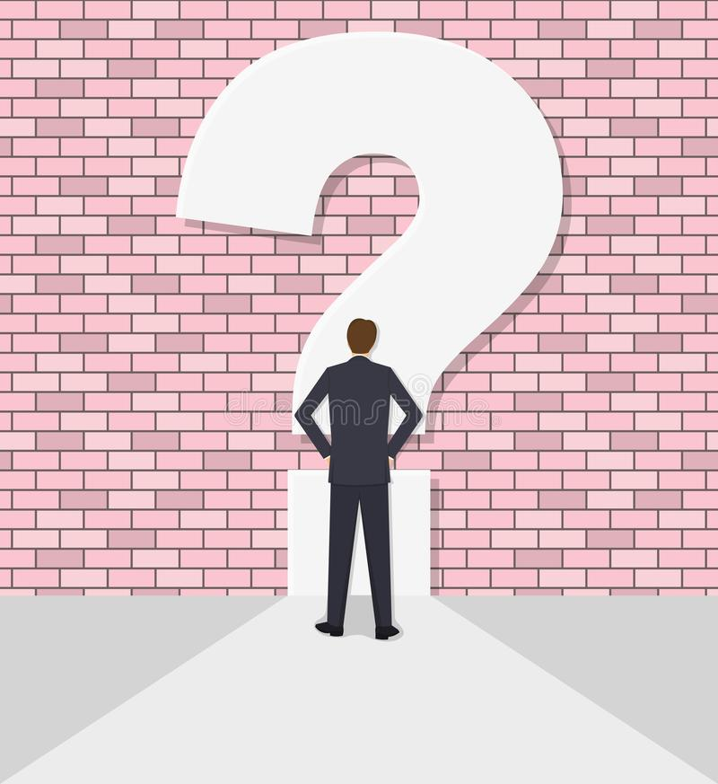 Businessman rests against a wall with a question mark. The businessman rests against a wall with a question mark. Concept of an impasse. Barrier, obstacle royalty free illustration
