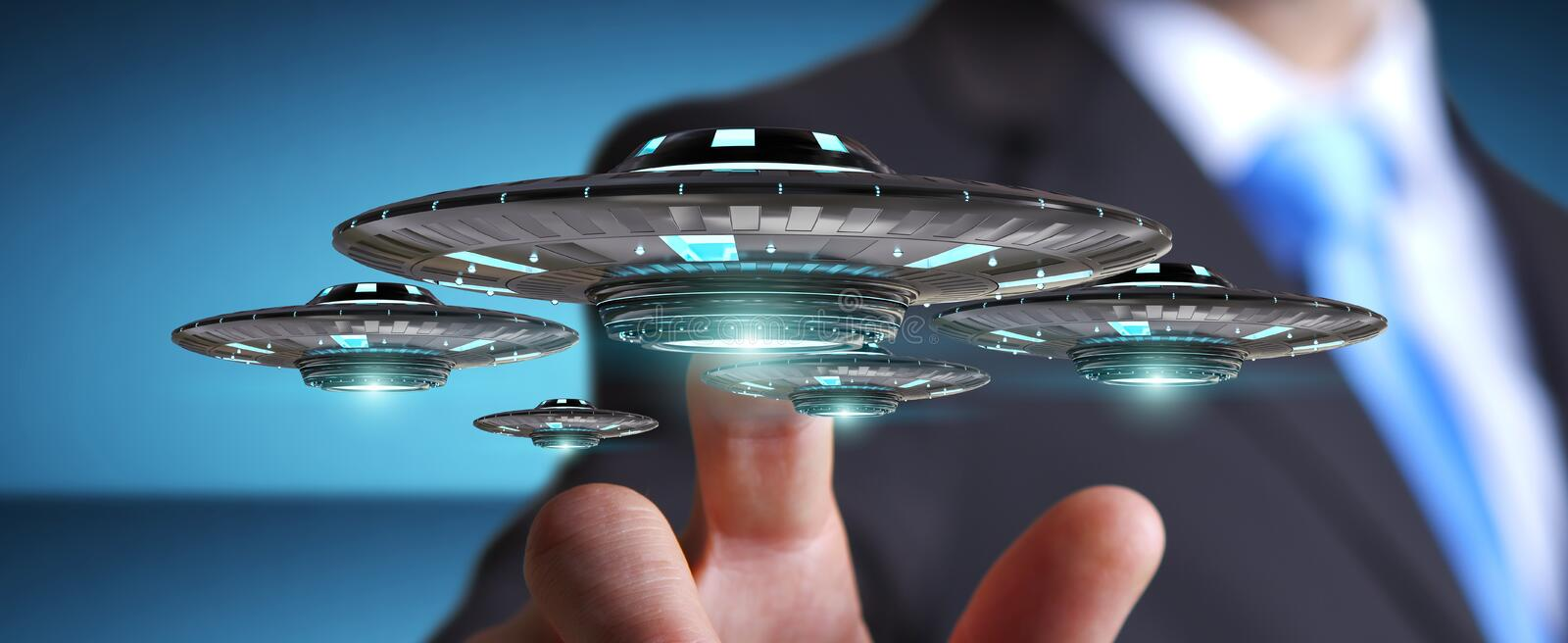 Businessman with retro UFO spaceship 3D rendering stock illustration