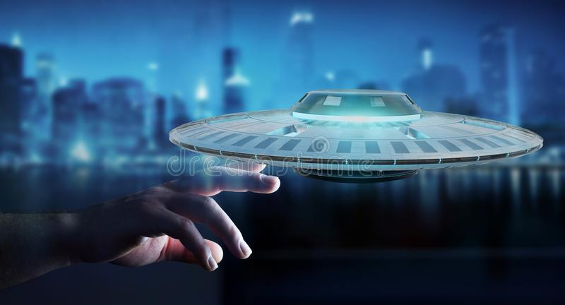 Businessman with retro UFO spaceship 3D rendering royalty free illustration