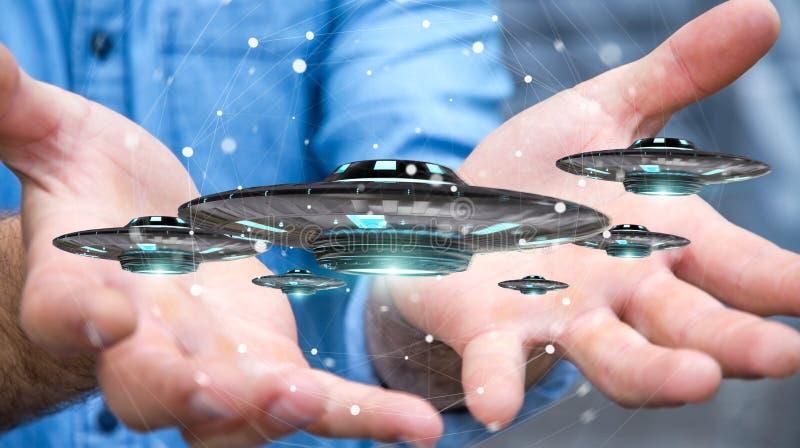 Businessman with retro UFO spaceship 3D rendering stock illustration