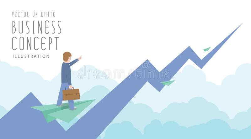 Businessman ride on paper plane to the top of the stock market f stock illustration