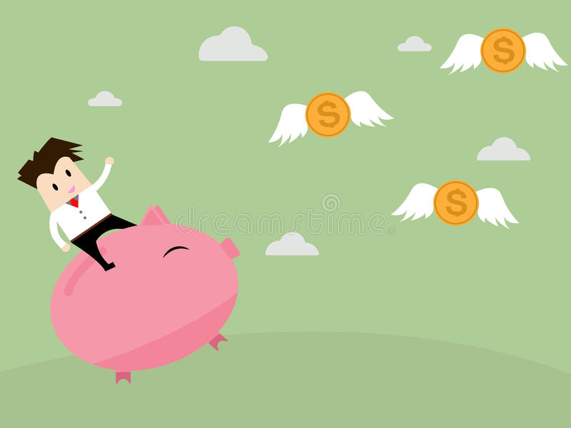 Businessman riding piggy bank to catch coin money. Fly vector illustration
