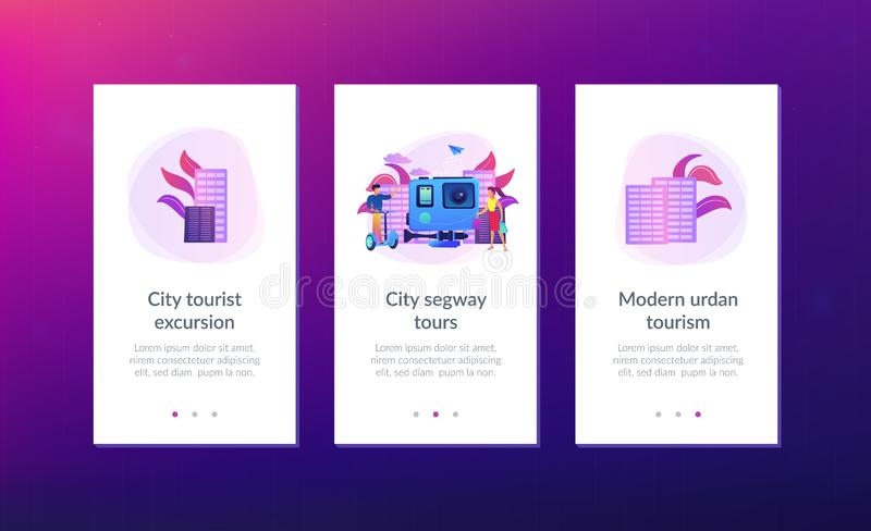 City segway tour app interface template. Businessman riding segway on the city tour, shopper and action camera. City segway tours, modern urban tourism, city royalty free illustration