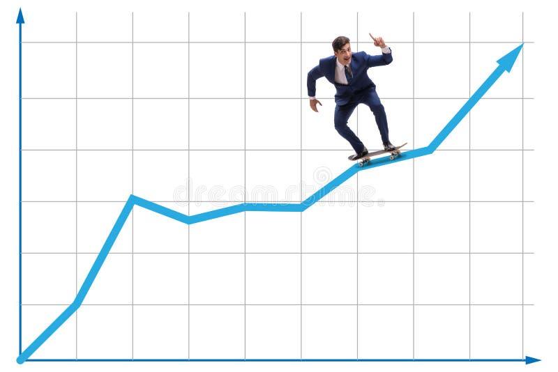 Businessman riding skateboard on financial graph stock photography
