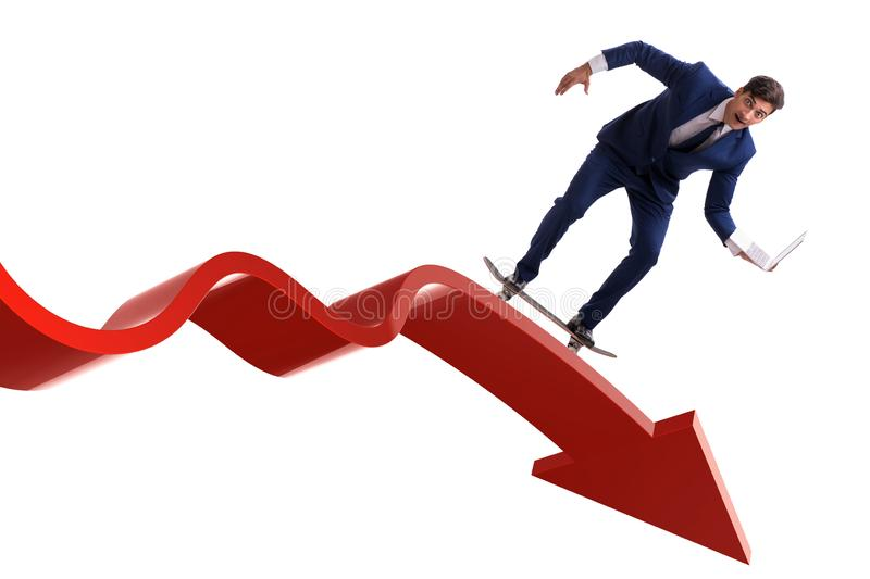 Businessman riding skateboard on financial graph royalty free stock photography