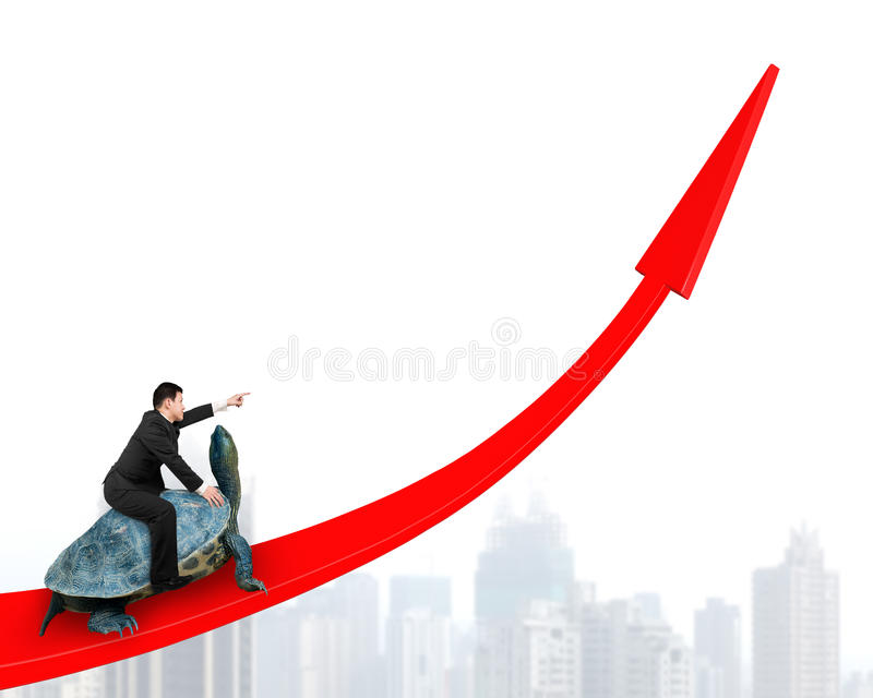 Businessman riding turtle on red arrow up royalty free stock photography