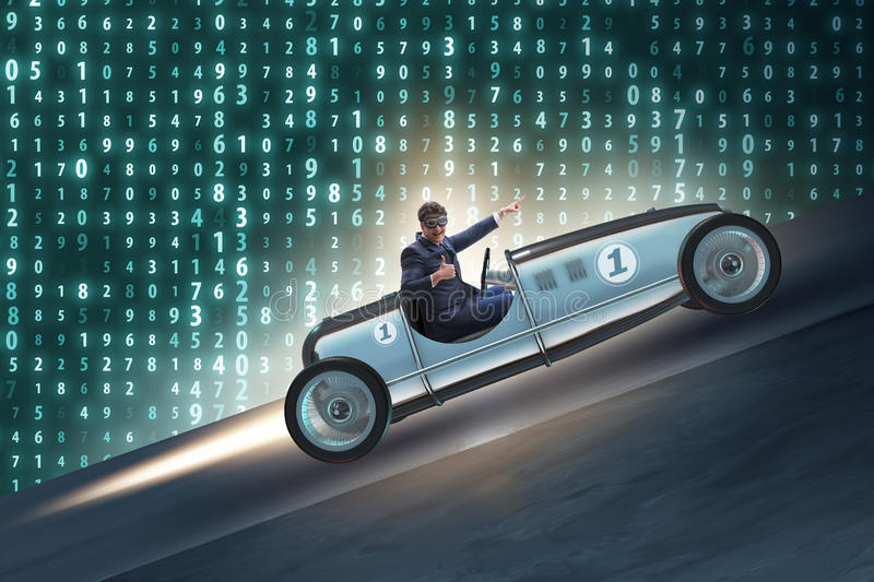 The businessman riding vintage roadster in motivation concept. Businessman riding vintage roadster in motivation concept royalty free stock images