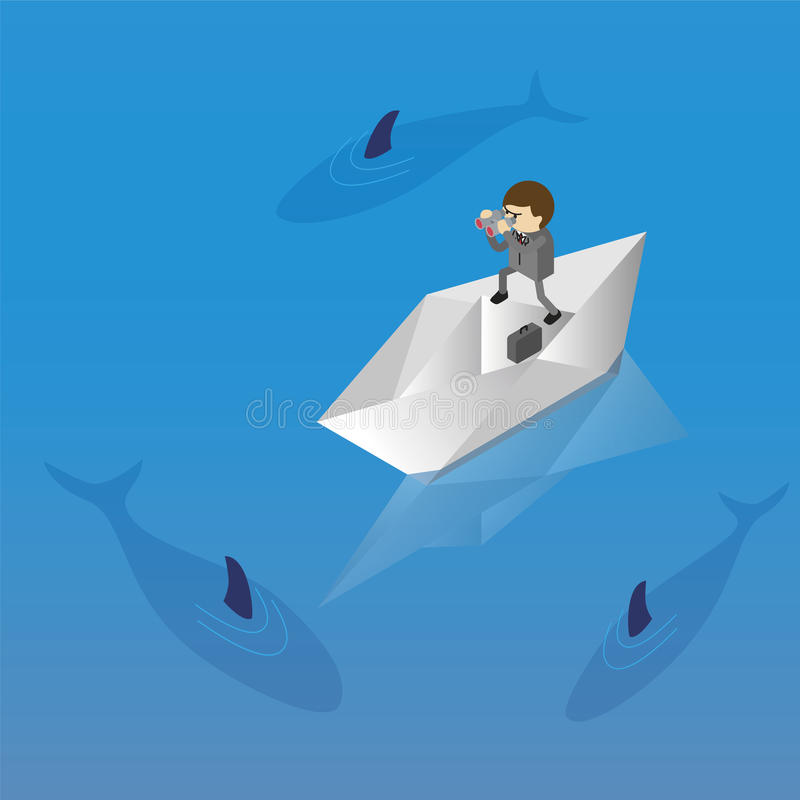 Businessman and risk. Businessman on paper boat and risk isometric stock illustration