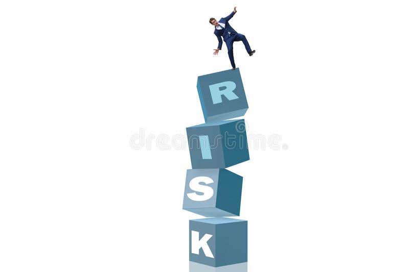 The businessman in risk and reward business concept stock image