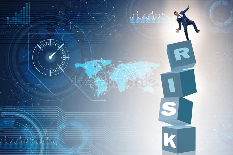 The businessman in risk and reward business concept stock illustration
