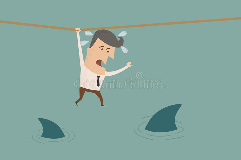Businessman in a risky situation royalty free illustration