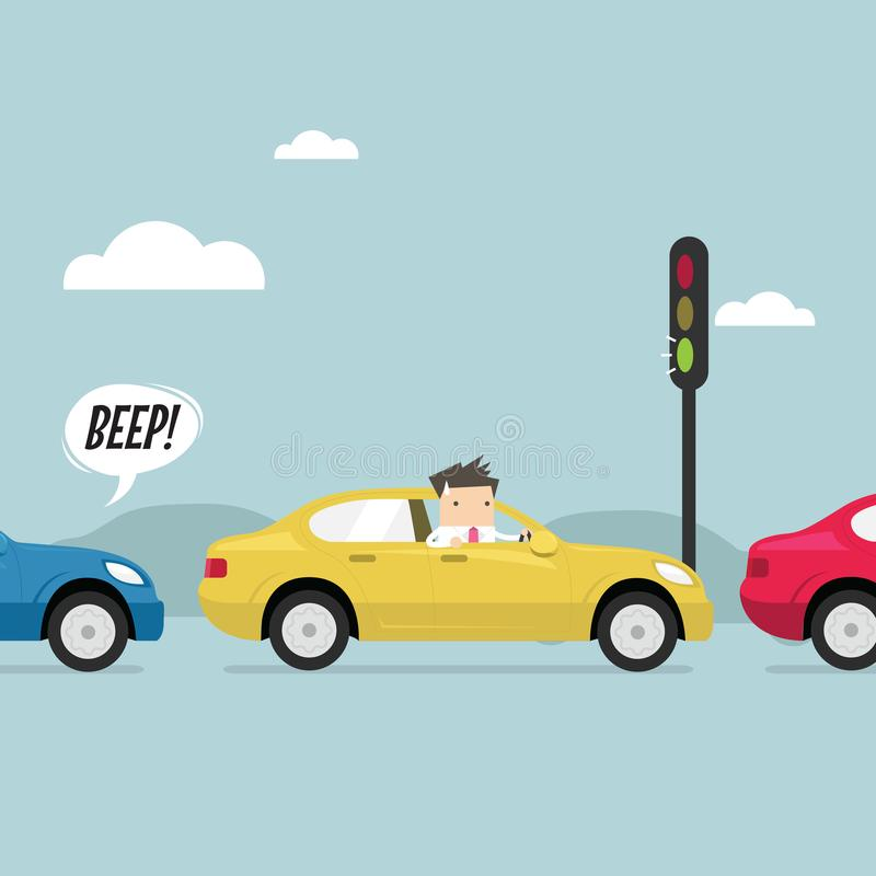 Businessman on the road with traffic jam, Green traffic light, honk a horn. royalty free illustration
