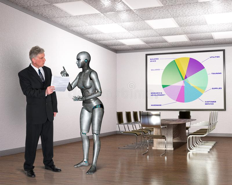 Business Office, Workers, Robot Meeting, Technology. A businessman and robot businesswoman work in a business office. They are having a meeting and discussing royalty free stock images
