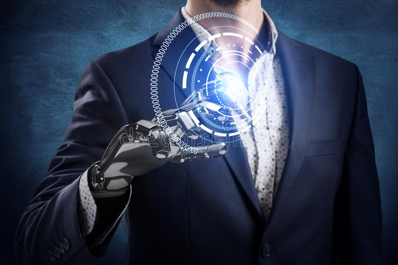 Businessman with robot hand touches virtual icon. 3d rendering. Businessman with robot hand push the virtual button over dark wall background. 3d rendering stock photography
