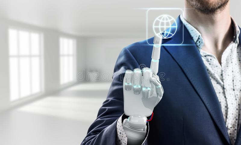 Businessman with robot hand touches virtual icon. 3d rendering. Businessman with robot hand touches virtual communication icon in bright white office. 3d stock photo