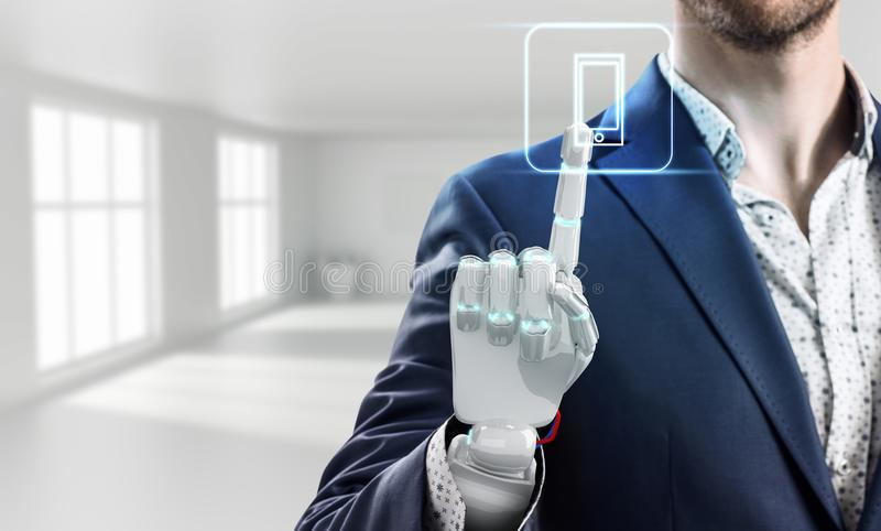 Businessman with robot hand touches virtual icon. 3d rendering. Businessman with robot hand touches virtual communication icon in bright white office. 3d stock photos