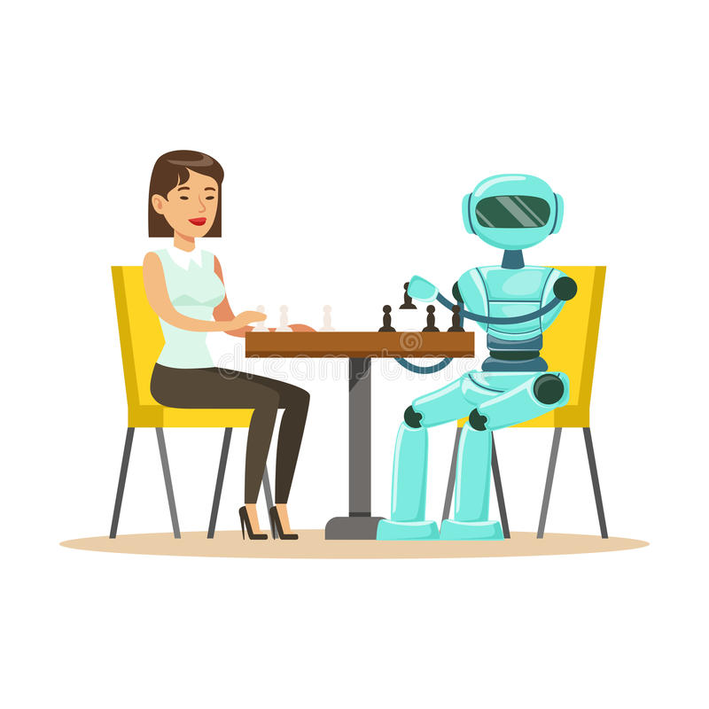 Businessman and robot playing chess vector Illustration stock illustration