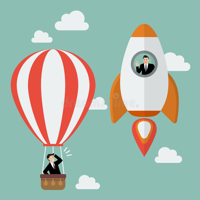 Businessman on a rocket fly pass Businessman in hot air balloon. Business competition concept stock illustration