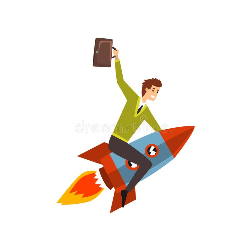 Businessman on a rocket, successful start up business project, development process vector Illustration on a white stock illustration