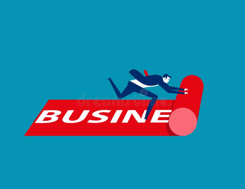 Businessman rolling out the business carpet. Concept business vector illustration. Rolling, Red stock illustration