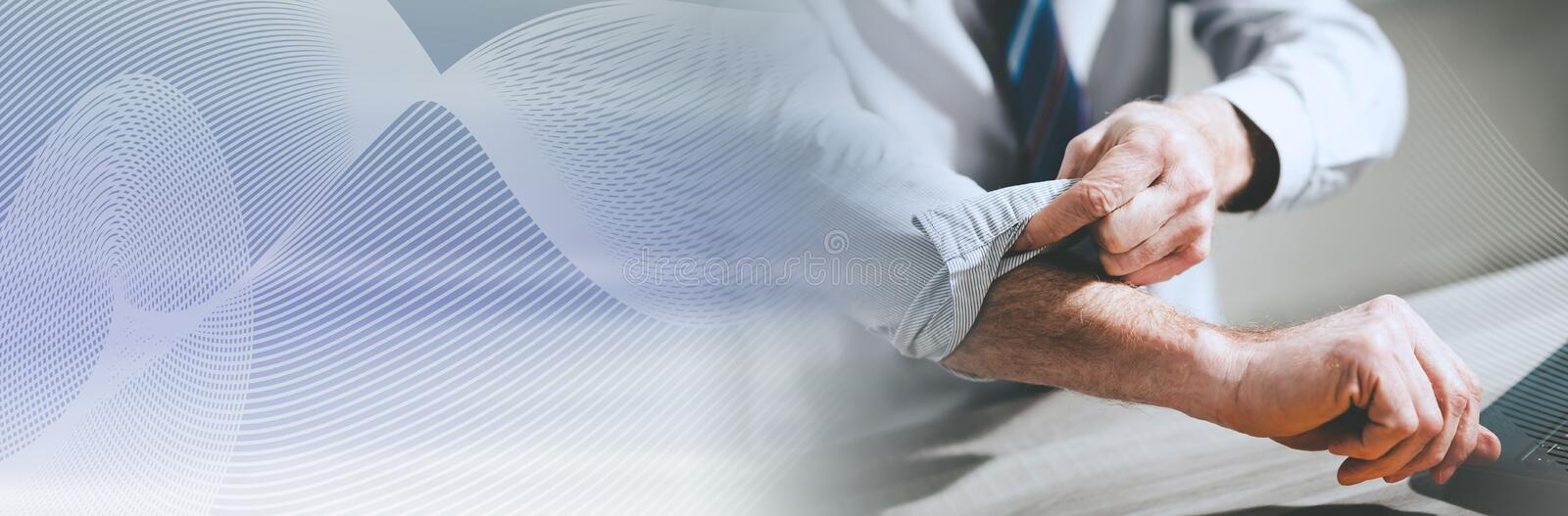 Businessman rolling up his sleeves; panoramic banner. Businessman rolling up his sleeves, concept of motivation; panoramic banner stock photography