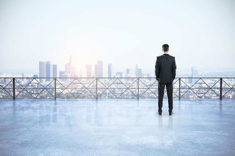 Businessman on rooftop stock images