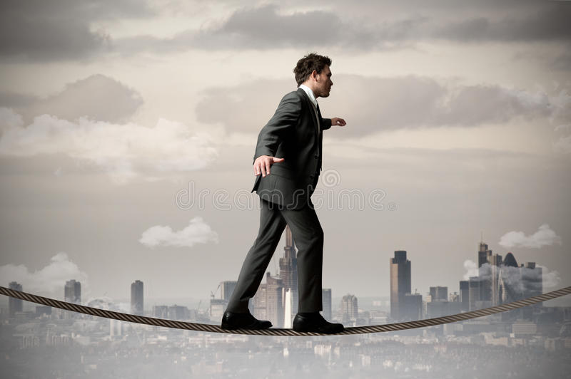 Download Businessman on the rope stock image. Image of competition - 24371937