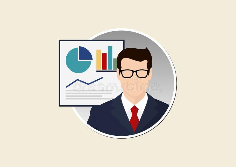 Businessman round illustration stock illustration