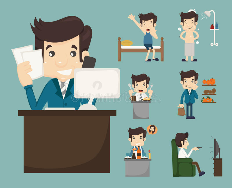 Businessman routine. Eps10 vector format royalty free illustration