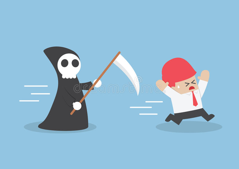 Businessman run away from angel of death vector illustration