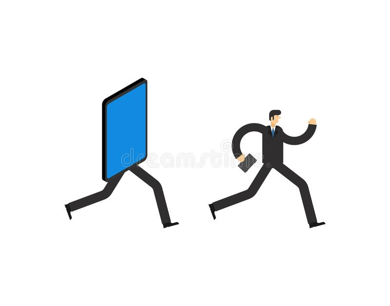 Businessman run away smartphone. Man go Offline. Concept stop online. Escape from internet royalty free illustration