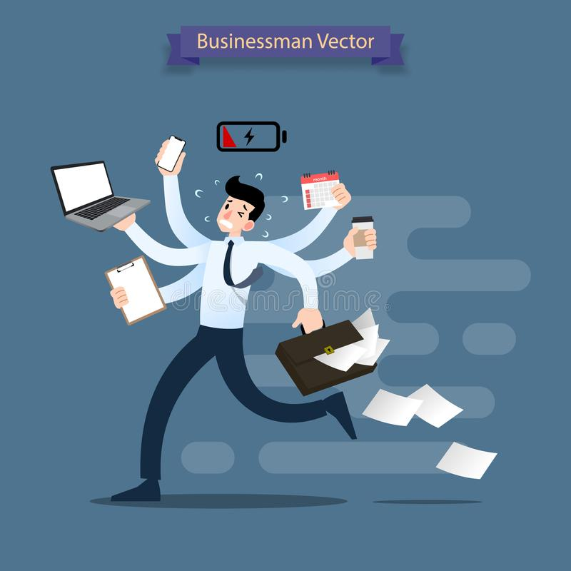 Businessman run with many hands holding smartphone, laptop, briefcase, stack of paper, calendar, clipboard and coffee. stock illustration