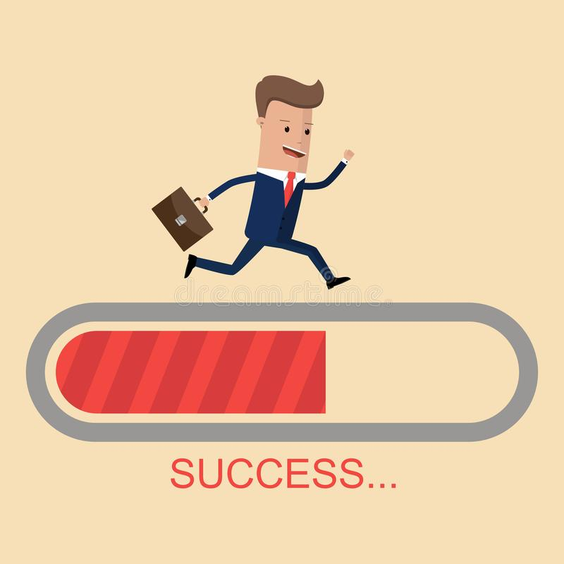 Businessman run on progress loading bar, Success concept. Vector illustration vector illustration