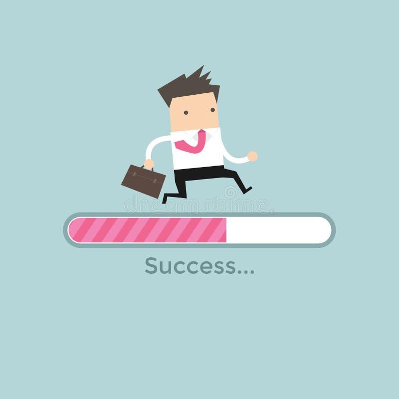 Businessman run on progress loading bar, Success concept. Vector illustration royalty free illustration